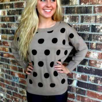 Mocha Polka Dot Sweater