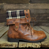 Timber Eaves Brown Plaid Fold Over Combat Boots