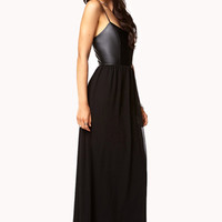 Faux Leather Chiffon Maxi Dress