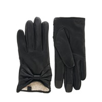 ASOS Leather Touch Screen Bow Gloves at asos.com