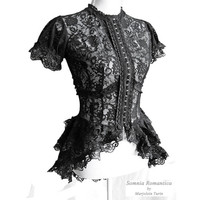 Blouse Korinthe black lace Victorian mourning by SomniaRomantica