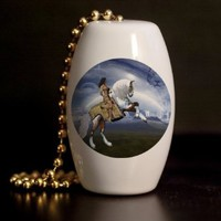 Indian Warrior Horse Porcelain Fan / Light Pull