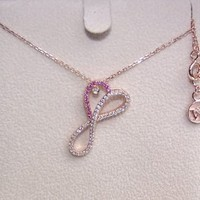 Infinite Heart String Diamond Rose Gold Necklaces 16 Inches
