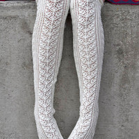 Socks by Sock Dreams » .Socks »  Over The Knee »  Romantic Lace Ribbed Sweater Socks
