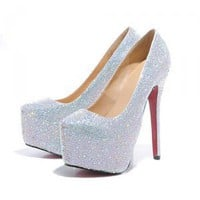 Silver Strass High Heel Platform Pumps [TOQ120503001] - $81.59 : wedding fashion, wedding dress, bridal dresses, wedding shoes