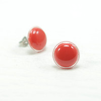 Red Stud Earrings 12mm - Bright Red Stud - Red Earrings - Hypollergenic - Stainless Steel Post Earrings - Dainty Round Stud Earrings
