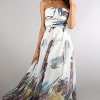 Floor Length Strapless Print Dress