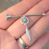 Arrow Dream Catcher Barbell Piercing Upper Double Ear Piercing