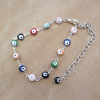 Evil Eye Anklet Or Bracelet- Colorful Chain Hamsa Ankle Wrist Adjustable Jewelry