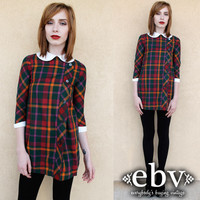 Vintage 60s Plaid Micro Mini Dress XXS