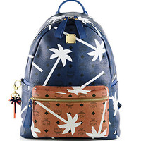 MCM - Bicolor Palmtree-Printed Coated Canvas Backpack