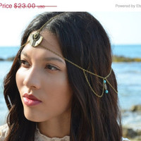 SALE Chain Headpiece Boho Head Jewelry Bohemian Headband Headdress Gypsy Jewelry Chic Bohemian  Hair Jewelry Donna Turquoise side drapes