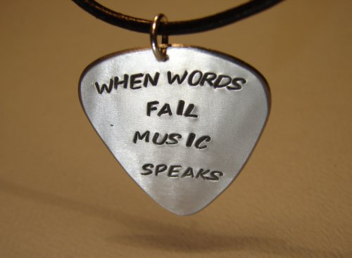 Guitar pick pendant when words fail music speaks handmade aluminum | nicilaskin - Jewelry on ArtFire