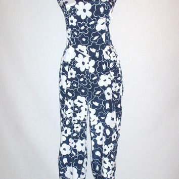 Vintage Style Floral Jumpsuit Blue and White