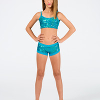 Free Shipping - Turquoise Child Sequin Camisole Bra Top by FUNKY DIVA