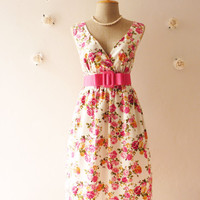 Floral Goddess - Pink Rose Tea Dress White Dress  Floral Dress Vintage Inspired Dress Party Cocktail Wedding Bridal Shower Dress  -S-M-