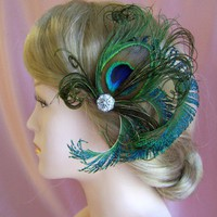 Bellisimo Peacock Feathers Fascinator | All4Brides - Wedding on ArtFire