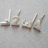 Numbers Stud Earrings - Sterling  Silver - Personalized Jewelry - Custom Numbers - Hand Cut