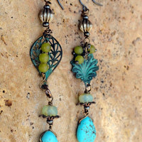 Peas In a Pod Earrings - Asymmetrical Mismatched earrings - Turquoise Earrings - long drop earrings, Bohemian jewelry