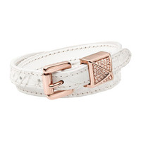 Michael Kors Leather Wrap Bracelet, White/Rose Golden
