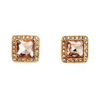 Gemstone Square Stud Earrings: Charlotte Russe
