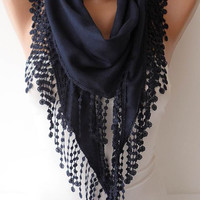 Christmas Gift - Dark Blue Pashmina Scarf with Trim Edge