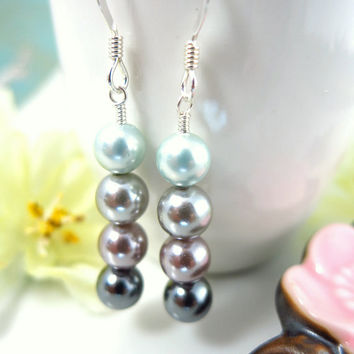 Shades gray pearl dangle earrings, 50 shades of gray earrings, silver bridesmaid earrings, silver wedding earrings