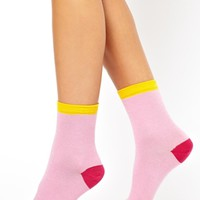 ASOS 3 Pack Pink Colour Block Ankle Socks at asos.com