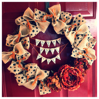 Happy Fall Y'all Cute Handmade Thanksgiving/Halloween Burlap Wreath
