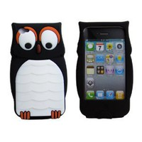 Owl Designs Cute Cartoon Silicone Case Back Cover Skin for Apple iPhone 4 4S Black: Cell Phones & Accessories