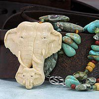 Fossilized mammoth tusk pendant necklace - Family Love - NOVICA