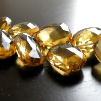 Beer Quartz Briolette Gemstone Faceted Teardrop Fancy Mango Leaf  16.5mm Set of 3 beads