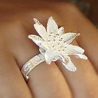 Sterling silver cocktail ring - Orchid Exotic - NOVICA