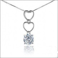 925 Silver Double Hearts Necklace