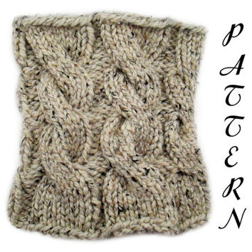 Cable Knit Cowl Pattern PDF - Knit Cowl Pattern - Cowl Knitting Pattern - Lion Brand Wool Ease Thick & Quick - Oatmeal - Download