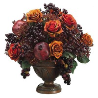 "One Kings Lane - An Autumnal Setting - 19"" Rose & Pomegranate in Resin Urn"