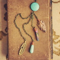 native skies.  a long turquoise earthy boho by RootsandFeathers
