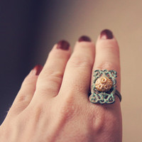 isabella.  a feminine patina ring with a touch by RootsandFeathers
