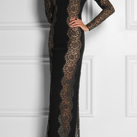 Stella McCartney | Lace-paneled stretch-crepe dress | NET-A-PORTER.COM
