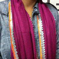 "SALE Indian Fashion Scarf with Rajasthani Gota Borders Maroon Women Scarves Cotton Scarf 27"" x 79"" Scarf"