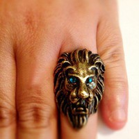 Zeus Lion Ring Bronze Vintage Ring Size 5 | christinepurr - Jewelry on ArtFire