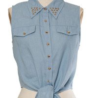 Denim Stud Crop Top