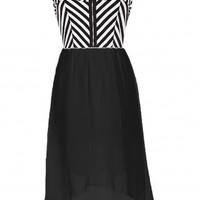 The Black & White Stripes High Low Dress - 29 N Under