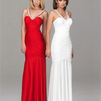 Strap Column Open Back Red White With Sequins Prom Dress PD0496