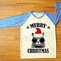 Red Hat Cat Glasses T-Shirt Merry Christmas Tee Shirt Cat T-Shirt Funny T-Shirt Blue Sleeve Tee Women Shirt Unisex Shirt Baseball Tee S,M,L