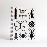hand screenprinted A5 black gardening book journal sketch book  notebook insect print