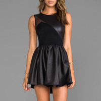 Donna Mizani Leatherette Sweetheart Flounce Dress