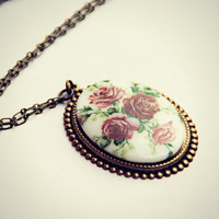 vintage roses cameo necklace