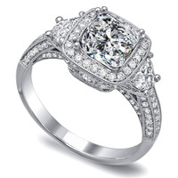 Engagement Ring - Cushion Diamond Engagement Ring Half moon side stones Pave Bnad - ES1033