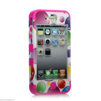 Rose Hybrid Rugged Rubber Matte Hard Case Cover For iPhone 4G 4S w/ Screen Guard